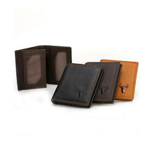 Men Cowhide Leather ID Credit Card Holder Clutch Bifold Zip Purse Wallet Pockets