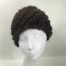 New Top Real Knitted Mink Fur Hat Warm Natural Mink Fur Cap Casual Hat Hat Sale