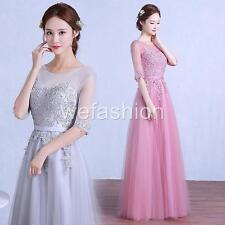 Women Lace Half Sleeves Evening Formal Party Ball Gown Prom Wedding Bridal Dress