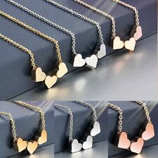 Three LOVE Heart Pendant Women Rose Gold Necklace Jewelry Charms Fashion Gifts