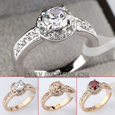 Fashion CZ Engagement Wedding Ring 18KGP Rhinestone Crystal Size 5.5-9