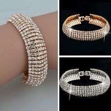 1Pc Elegant Women Crystal Rhinestone Cuff Bracelet Bangle Charm Jewelry Gift New