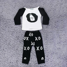 New Toddler Baby Outfits Clothes Feeding Bottle Pattern Tops+Pants 2PCS Set MR