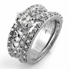 Marquise Round Cubic Zirconia Bridal Set Wedding Engagement Ring Sterling Silver