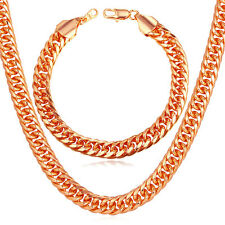 9MM Franco Curb Chain Necklace Bracelet Gold Plated Mens' Jewelry Set 18-30inch