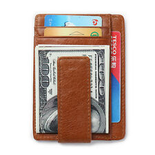 RFID Real Leather Mens ID Card Holder Coin Purse Money Clip Wallet Black Brown
