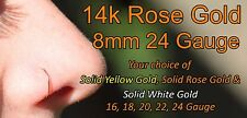 14k Solid Rose Gold Nose Ring/Hoop Earring 24 Gauge 8mm Inner Diameter