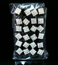 New Fashion Lots 12Pairs 3×3Rows Square Rhinestone Stud Pin Earrings