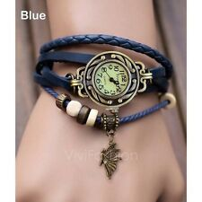 New Woman Lady Fashion Weave Wrap Around Leather Quartz Bracelet Wrist Watch