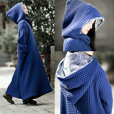 Womens Winter Linen Long Dress thicken wizard hat loose robes long sleeved dress