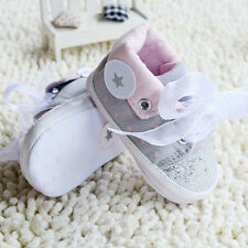 New Toddler Baby Girl Gray Crib Shoes Soft Sole casual Size 0-6 6-12 12-18Months