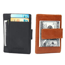 New RFID Genuine Leather Men Women ID Card Holder Money Clip Wallet Black Brown