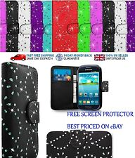 Diamond Wallet PU Leather Cover For Samsung Galaxy S3, S4, S5 Free Screen Prot.