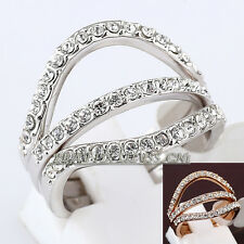 Fashion Triple Wave Ring 18KGP CZ Rhinestone Crystal Size 5.5-7