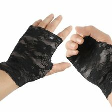 Women Lace Modonna Fingerless Gloves Ladies Stretch Goth beauty Fancy Party