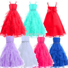 Flower Organza Tulle Dresses Girls Ruffle Pageant Wedding Bridesmaid Party Gown