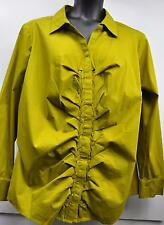 "Worthington Women Stretch Blouse Top ""Mod Moss"" Olive Green Pleated Long Sleeves"