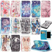 smart phone Colorful printed PU leather case wallet flip case protective skins