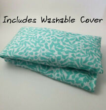 Microwavable Flax Seed Neck Wrap with washable cover - Organic Cotton light blue