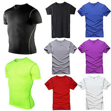 Mens Sports Athletic Top Compression Shirt Under Base Layer Short Sleeve T-Shirt