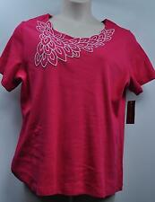 "JM Collection Woman Plus Size Blouse Top ""Radiant Pink"" Short Sleeve Size 1x"