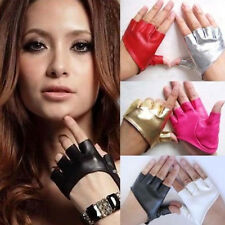 Fashion Women's PU Leather Punk Half Palm Fingerless Driving Dacning Show Gloves
