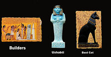 Egyptian Ancient Reproduction Kitchen Magnets - Builders, Ushabti and Bastet Cat