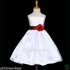 WHITE/BURGUNDY WINE SPAGHETTI STRAPS FLOWER GIRL DRESS 12M 18M 2 4 5/6 8 10 12