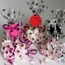 Animal paw print party pack 8 cello cellophane bags ribbon and tags dog puppy