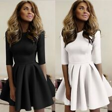 Fashion Women Long Sleeve Skater Pleated Party Evening Cocktail Short Mini Dress