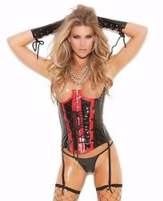 Black Vinyl Corset Women Red Cupless Bust Strappy Lace Up Shiny Wet Lingerie