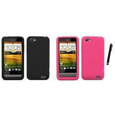 For HTC One V Silicone Skin Rubber Soft Case Phone Cover Stylus Pen