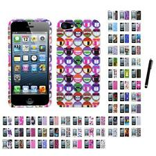 For Apple iPhone 5/5S/SE Design Snap-On Hard Case Phone Cover Stylus Pen