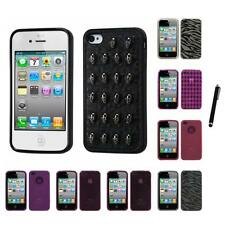 For Apple iPhone 4/4S TPU Rubber Skin Flexible Case Phone Cover Stylus Pen