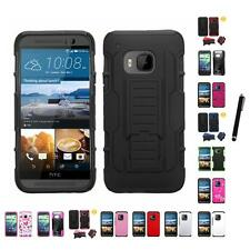For HTC One M9 Hybrid IMPACT Hard TUFF Hybrid Case Phone Cover Stylus Pen
