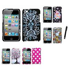 For Apple iPod Touch 4th Gen Design Snap-On Hard Case Phone Cover Stylus Pen