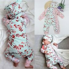 Infant Baby Girl Floral Long Sleeve Bodysuit Romper Jumpsuit Hat Outfits Clothes