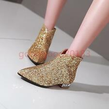 Fashion New Womens Zip Party Sequin Shoes Low heel Pointy Toe Dress Ankle boots