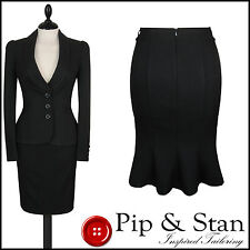 NEXT UK12/14 US8/10 BLACK PENCIL SKIRT SUIT BUSINESS WOMENS LADIES SIZE