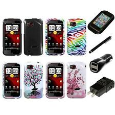 For HTC Rezound Design Snap-On Hard Case Phone Cover Charger Stylus