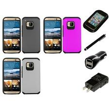 For HTC One M9 Slim-Grip Shockproof 2-Piece Hard Case Cover Charger Stylus
