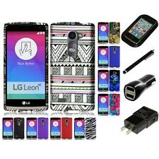 For LG LG Leon Snap-On Design Rubberized Hard Phone Case Cover Charger Stylus