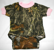MOSSY OAK CAMOUFLAGE & PINK BABY DIAPER SHIRT - INFANT SNAP SHIRT