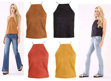 New Womens Ladies Suede Halter Neck Back Lace Up Sleeveless Evening Party Top