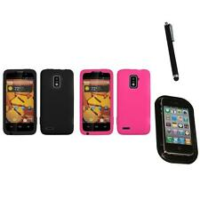 For ZTE Warp 4G Silicone Skin Rubber Soft Case Phone Cover Mount+Pen