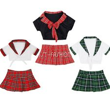 Womens School Girl Costume Sexy Lingerie Uniform Cosplay Crop Top Fancy Dress