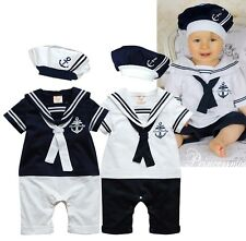 Baby Boy Hat + Marine Sailor Outfit Romper Navy Captain Carnival Costume 3-18M