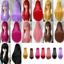 """WOMENS LADIES LONG 19"""" STRAIGHT WIG FANCY DRESS COSPLAY WIG PARTY COSTUME UK AY"""