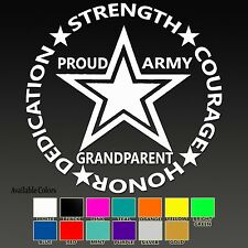 PROUD ARMY GRANDPARENT United States Soldier Military Custom VInyl Sticker Decal