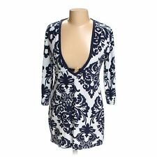 PJ Salvage Bold damask floral Terry cloth Tunic beach Navy white Large